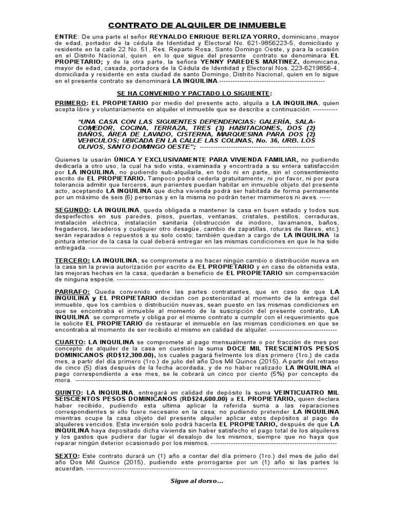 Contrato De Alquiler De Inmueble Práctica