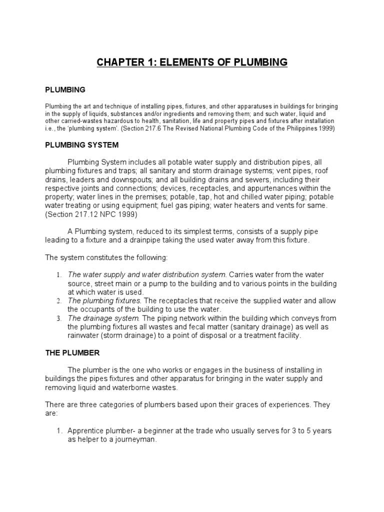 Plumbing Notes 1   Water Purification   Plumbing