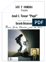 "LUZ Y SOMBRA. Pasillo. José Ignacio ""Papi"" Tovar. Transc. piano Gerardo Betancourt."