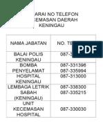Senarai No Telefon Kecemasan Daerah Keningau