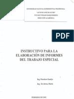 Instructivo de Elaboración de Informes del Trabajo Especial