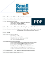 Tester's 15th Small Business Opportunity Workshop Agenda