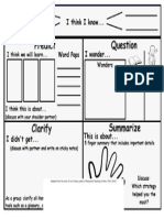 Reciprocal Teaching Organizer Chart