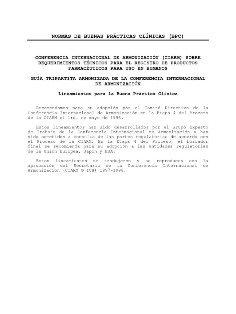 NORMAS DE BUENAS PRÃ CTICAS CLÃ NICAS (BPC)
