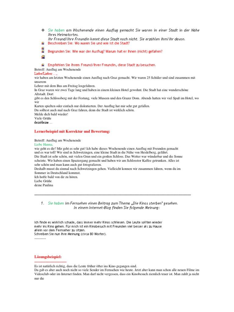 Deutsch Lernen B1 Brief Schreiben Pdf O2 Partner
