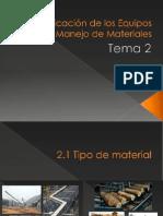 2) Clasificación de Equipos de Manejo de Materiales