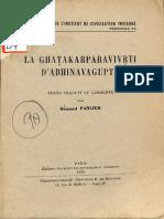 La Ghatakar Paravivrti D'Abhinava Gupta - Bernard Parlier