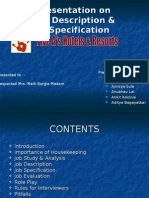 Presentation on Job Description & Job Specification