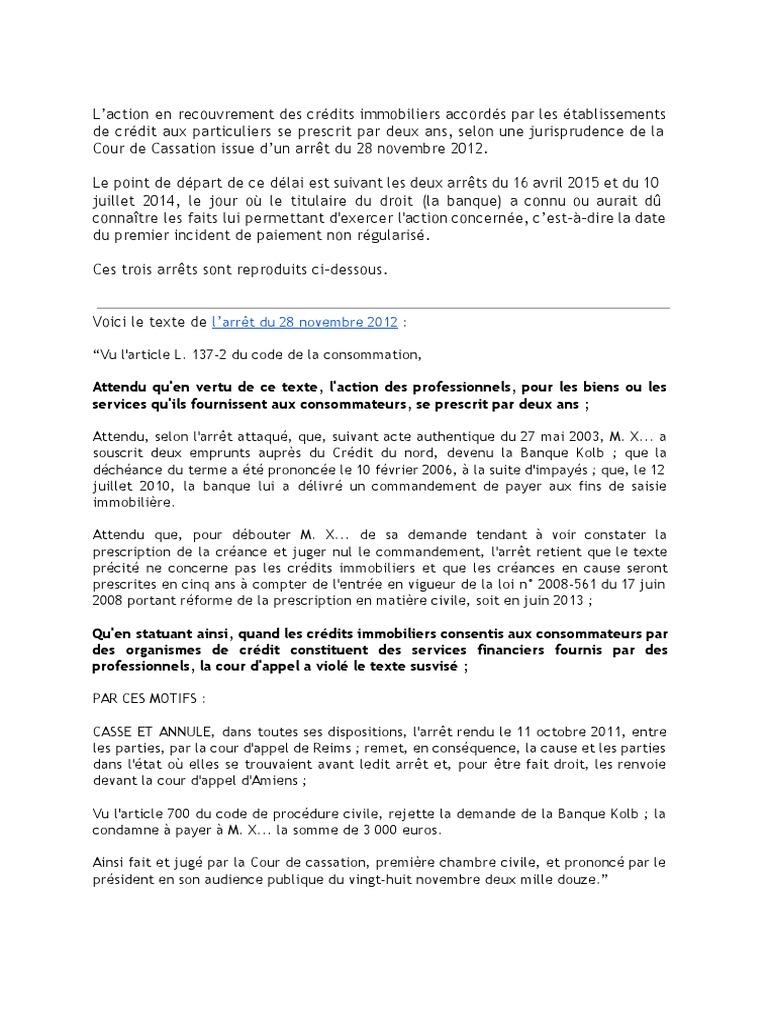 Les Arrets A Connaitre Sur La Prescription De Deux Ans En Matiere De