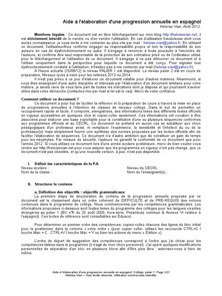Vers Une Progression Annuelle En Espagnol Collc3a8ge Palier 1