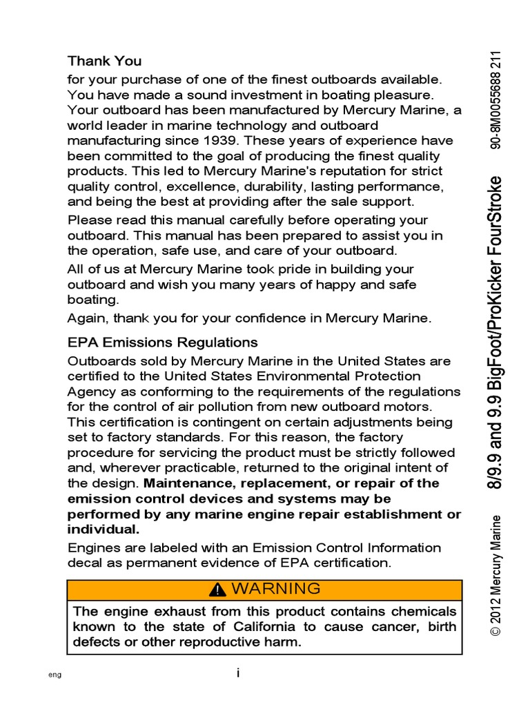 Mariner owners manual | Implied Warranty | United States Environmental  Protection Agency