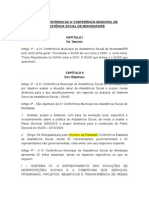 Regimento Interno Da IV Conferência Municipal de Assistência Social de São Montadas