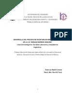 DESARROLLO DEL PROCESO DE ESCRITURA EN LOS NIÑOS DE 2DO GRADO DE LA U.E ENRIQUE BARRIOS SÁNCHEZ