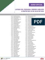 Lista de Obreros Jubilados ME Julio 2015 - Notilogia