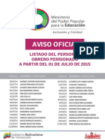Lista de Obreros Pensionados ME Julio 2015 - Notilogia