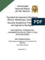 Informe - Diatomitas, Formacion, Yacimientos en El Peru y Sus Aplicaciones - Vilcapoma