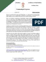 Communiqué de Presse-Archidiocèse de Saint-Boniface 14 Juillet 2015