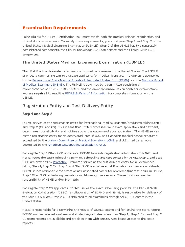 Examination requirements united states medical licensing examination requirements united states medical licensing examination health education 1betcityfo Images