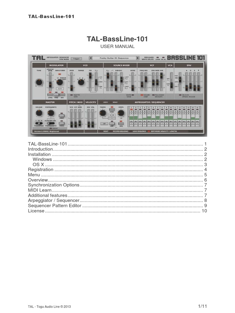 TAL BassLine 101 UserManual   Synthesizer   License