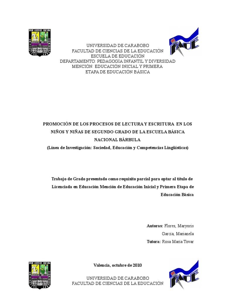 Promocion de Los Procesos de Lectura y Escritura en Los Niños y ...