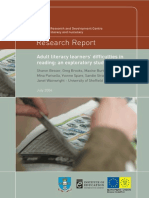 adult literacy learners difficulty in reading