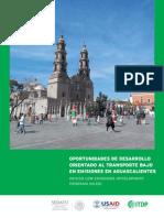 Oportunidades de Desarrollo Orientado al Transporte y bajo en emisiones en Aguascalientes