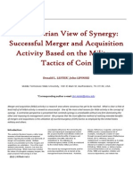A Contrarian View of SynergySuccessful Merger and Acquisition Activity Based on the Military Tactics of Coin