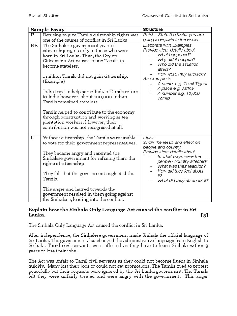 sample essay seq conflict causes sl social studies sri lanka asia