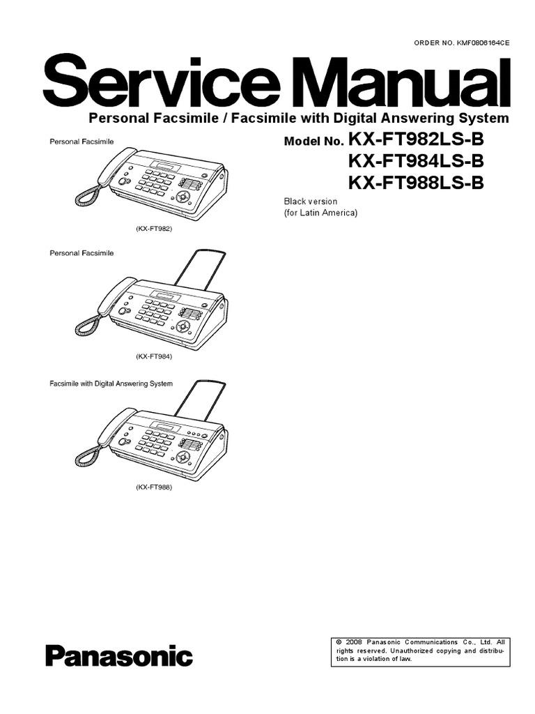 panasonic kx ft982ls 984ls 988ls service manual repair analog to rh scribd com Panasonic Kx Phone Manual Panasonic Owner's Manual