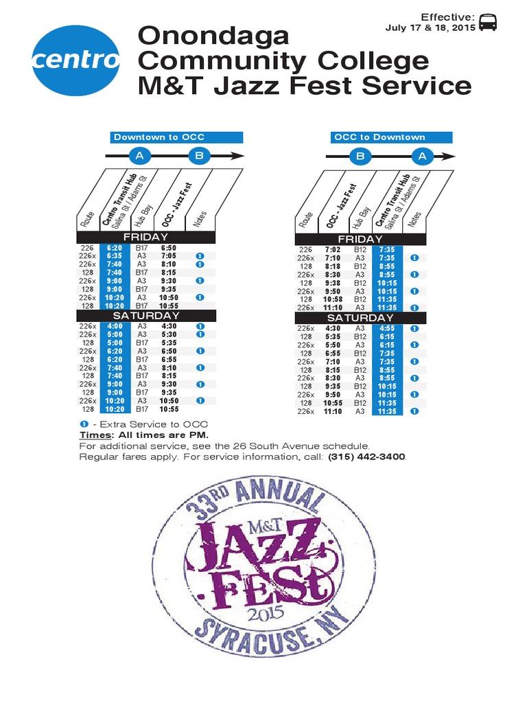 2015 M&T Syracuse Jazz Fest bus schedule