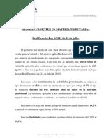 MEDIDAS URGENTES EN MATERIA TRIBUTARIA 2015