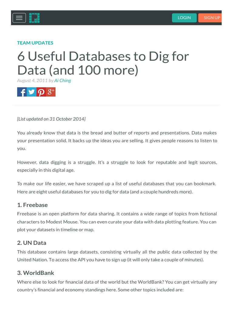 6 Useful databases to dig for data or | Tag (Metadata) | Search