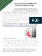Posgrado APRENDIZAJES ESPECIFICOS Y DIFERENCIAS INDIVIDUALES EN LOS PROCESOS DE ENSENANZA