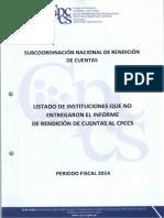 Instituciones Que No Entregaron Informe Rendición de Cuentas 2014