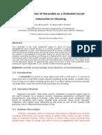 The Application of Verandah asThe application of verandah as a potential social interaction in housing a Potential Social Interaction in Housing