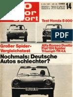 ams 1967 - Spider-Vergleich TR4