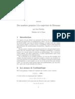 Des Nombres Premiers a La Conjecture de Riemann - Par Jean Mawhin