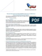 Resumen SECOM 'Documento de Trabajo MINEDUC'