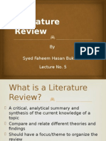 Lecture 5 - Literature Review