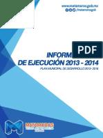 Informe Anual de Ejecución 2013 - 2014 - Gobierno de Matamoros