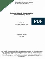 Industrial Mineral Deposit Models Grade and Tonnage Models