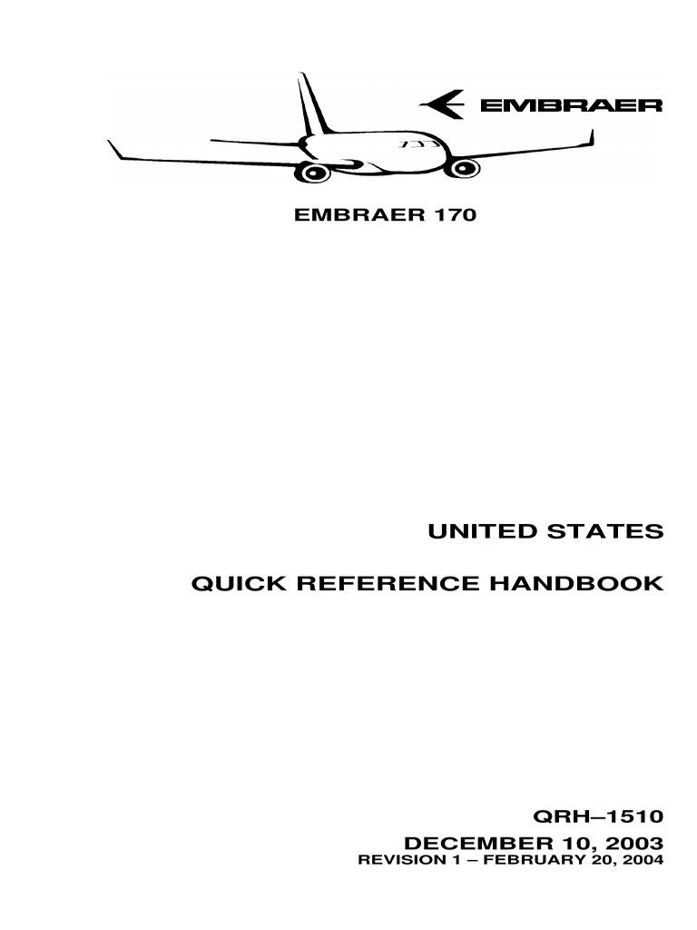 Embraer ERJ 170 Quick Reference Handbook QRH 1510 FAA | Aircraft Flight  Control System | Landing Gear
