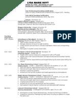 lysa hoyts resume - teaching application