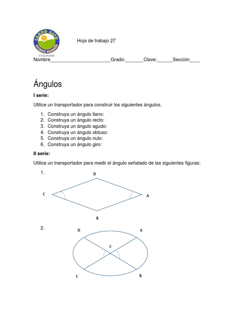 Asombroso ángulos Coterminales Hoja De Trabajo Festooning - hojas ...