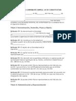 Acta Constitutiva de Sociedad en Comandita Simple