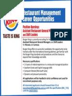 Burger King Vacancy Cyprus July