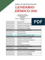 Calendar i Ocie Nci as Social Es 2010