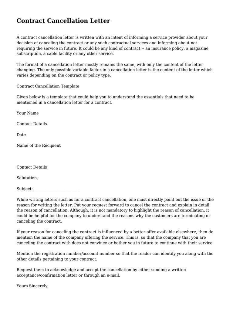 Contract Cancellation Letter