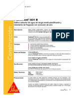 Aditivo Retardante Fraguado Exclusion Aire Plastiment 931 r