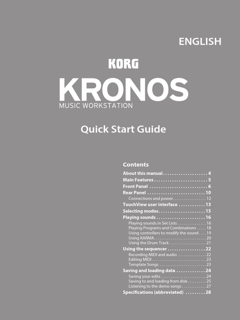 Korg KRONOS, KRONOS X, and KRONOS 2 Quick Start guide